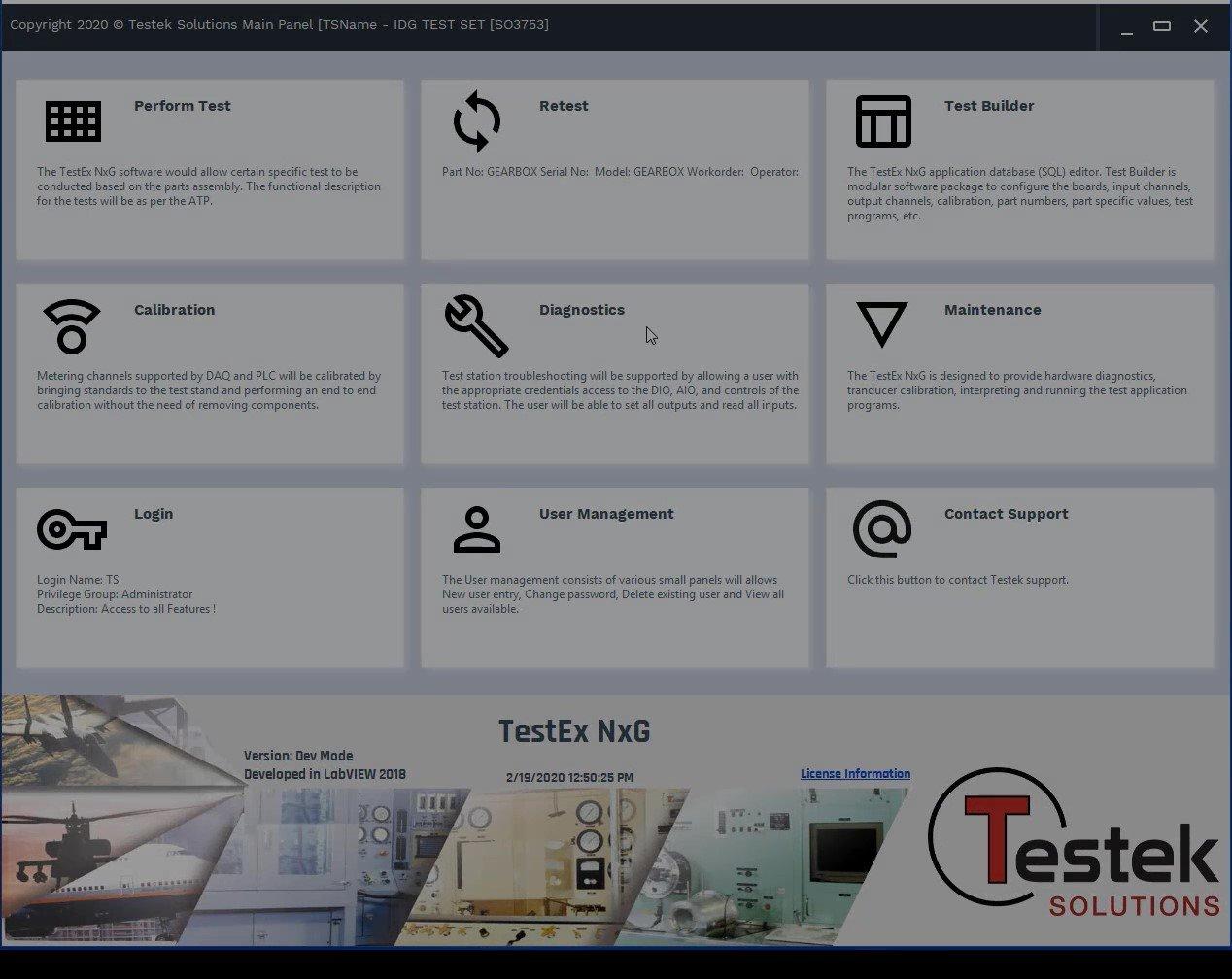 TestEx NxG Main Panel